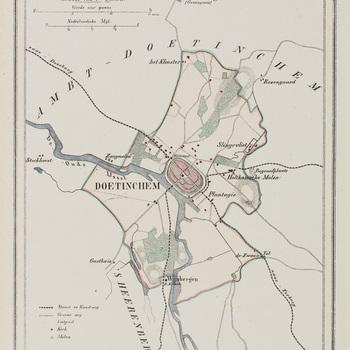 Kaart, in passe-partout, waarop afgebeeld 'Gemeente Doetinchem' door H. Suringer, 1867