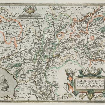 Landkaart van Gelre en de Graafschap door A. Ortelius uit 1592 als gravure, uit 1592