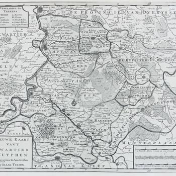 Landkaart, reproductie, getiteld 'Nieuwe kaart van 't kwartier Zutphen'