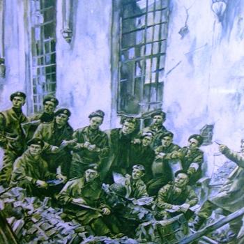 Kopie van een schilderij, waarop afgebeeld geallieerde soldaten in de Catharinakerk