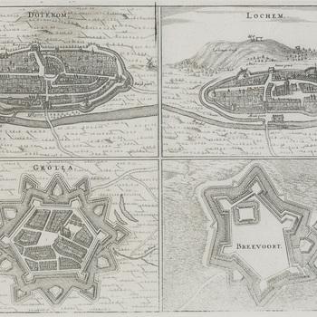 Gravures, voorstellend stadsplattegronden Dotekom, Lochem, Grolla en Breevoort, situatie in 1653, door N. van Geelkercken