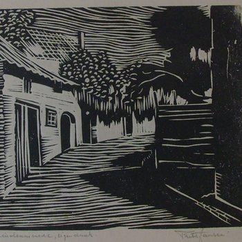 Linoleumsnede, waarop de Walstraat in Doetinchem