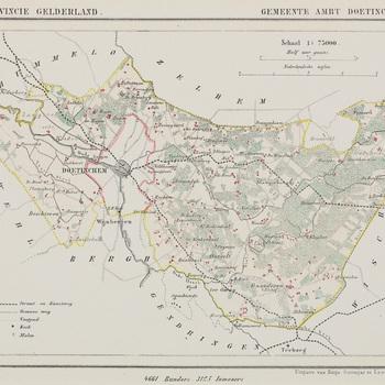 Kaart, in passe-partout, waarop afgebeeld 'Gemeente Ambt Doetinchem' door H. Suringer, 1866
