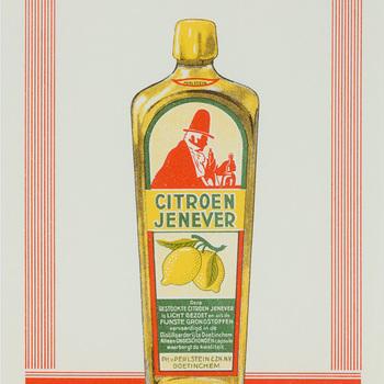 Reclameafbeelding, ingelijst, voor Perlstein's citroenjenever
