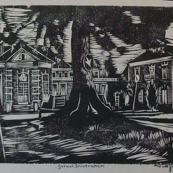 Linoleumsneden waarop de Gaswal te Doetinchem door Jansen, F. ca. 1945