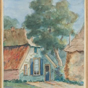 Aquarel met oude boerderij en hooiberg, door H.E. Knaake