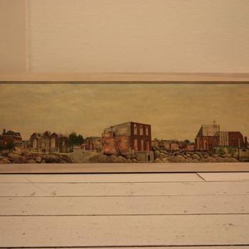 Schilderij, waarop afgebeeld de binnenstad van Doetinchem, in 1945