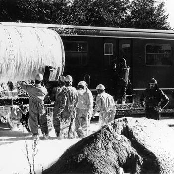 Reddingsoefening Sprobra (spoorwegen-Rode Kruis-brandweer)