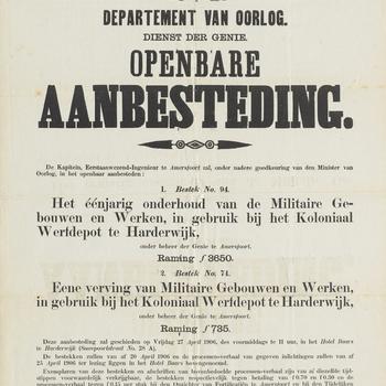 Openbare aanbesteding van onderhoud en vervanging van gebouwen van het Koloniaal Werfdepot te Harderwijk, 1906.