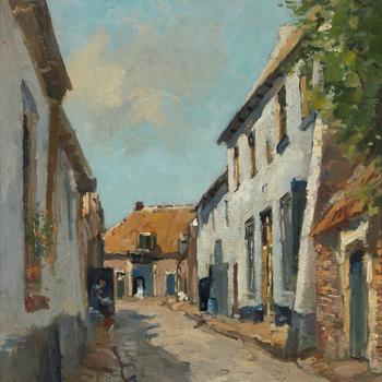 Schilderij, voorstellende de Straat van Sevenhuysen te Harderwijk, door J. van Vuuren