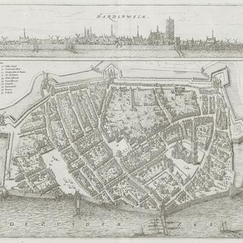 Vogelvluchtplattegrond van Harderwick met erboven een stadsprofiel vanaf zee, door N. van Geelkercken