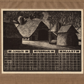 Kalender 1936 met houtgravures van J. Bezaan