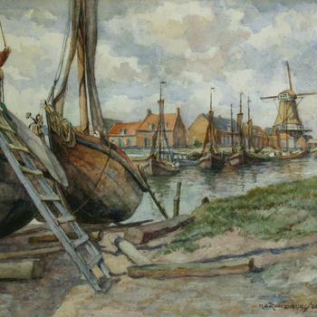 Gezicht op de vissershaven vanaf de Kleine Helling, door H.E. Roodenburg, 1980