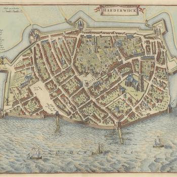 Vogelvluchtplattegrond van Harderwiick, door N. van Geelkercken uit Stedenatlas De Wit, 1698