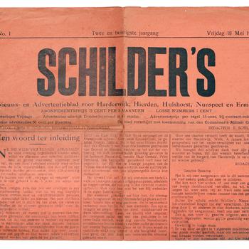 Schilder's Nieuws- en Advertentieblad van 18 mei 1945, oranje bevrijdingseditie