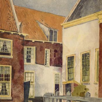 Aquarel getiteld 'Hofje in Harderwijk' door C.C. van Niekerk, 1940