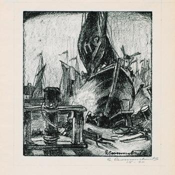 Schuit op helling met kaapstander, door G. Crommelinck