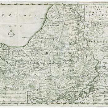 Nieuwe Kaart van 't Kwartier De Veluwe uitgegeven te Amsterdam by Isaak Tirion, 1741