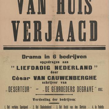 Affiche van de Kampschouwburg Harderwijk: Drama 'Van huis verjaagd', 1917