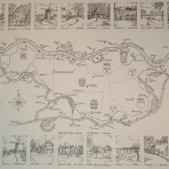 kaart van de Bommelerwaard met dorpsgezichten. Tekening, Siljée en de Bruijn, 1983.