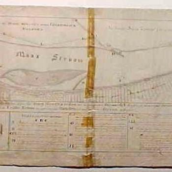 Kaart van de loop van de Maas bij Heerewaarden met uiterwaarden. Topografische aanduidingen. Pentekening, P. Prillevitz. Techniek: Pen in grijs en O.I.inkt.