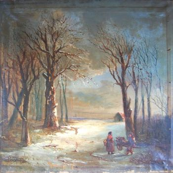 Gezicht op een bos in de winter 1874