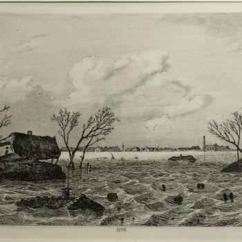 Gezicht op de dijkdoorbraak te Dreumel, 9 maart 1855. Ets, M. ten Kate.
