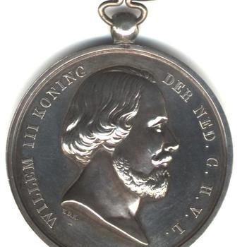 Zilveren penning Watersnood 1855