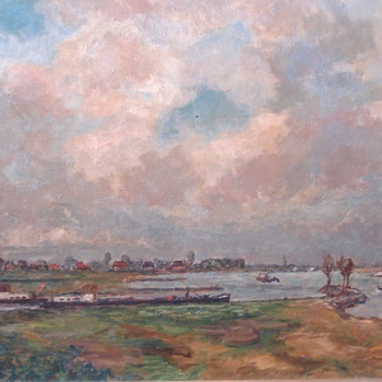 """Rossum gezien vanaf Sint Andries""  olieverf op doek  periode 1955-1970  R.C.Murman"