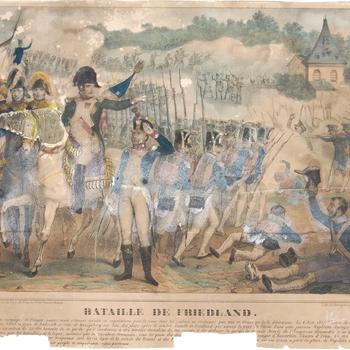 Gezicht op de slag bij Friedland met o.a. Napoleon die de Pruisische en Russische troepen versloeg. Litho in kleur. Maesani.