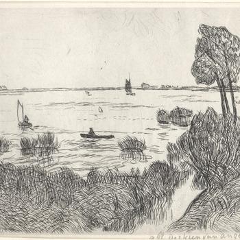 Waalgezicht met rivier, uiterwaarden. Ets, A. Derkzen van Angeren, jaar 1946.