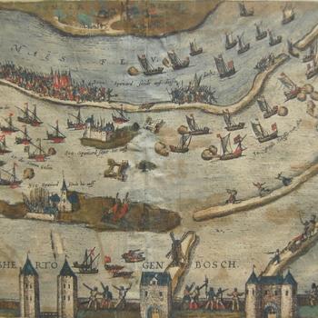 Gezicht vanaf Den Bosch met torens, poorten, muren, soldaten en water. Poging inval Hedel. Bommelerwaard. Opschriften en topografische aanduidingen. Gravure, gekleurd.