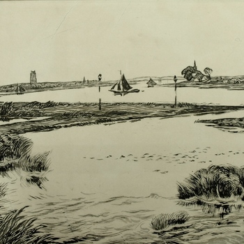 Waalgezicht met uiterwaarden, spoorburg en Sint-Maartenskerk,  Zaltbommel. Ets, A.Derkzen van Angeren, 1936. In 1959 met grijze aquarelverf opgetekend.