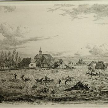 Gezicht op de Watersnood 24 maart 1855 bij het dorp Kessel. Ets, G.A. Roth.