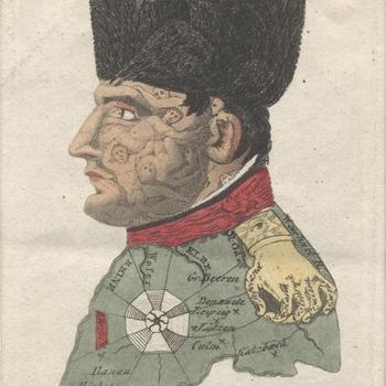 buste van Napoleon met karikatuur. Gekleurde prent met losse verklaring. Litho, E. Maaskamp.