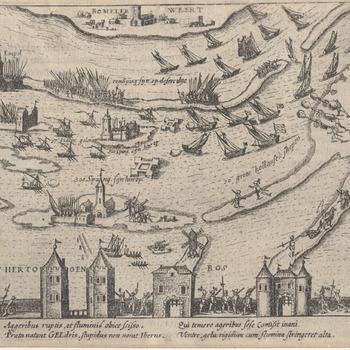 Situatiekaart van de belegering van Den Bosch met boven een gedeelte van de Bommelerwaard. Troepen- en schepenconcentraties. Topografische aanduidingen. Kopergravure, 1586.