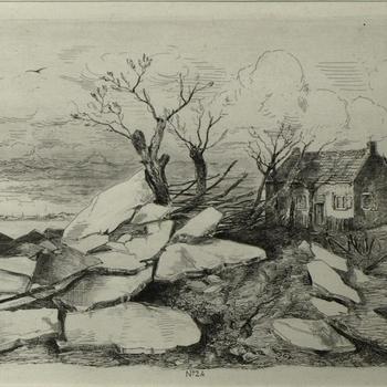 Gezicht op de watersnood, 9 maart 1855, boerenwoning te Altena bij Elst, wonderlijk gespaard. Ets, M. ten Kate.