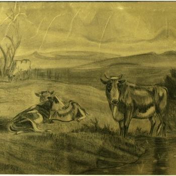 Gezicht op koeien aan het water. Tekening zwart krijt, H. Bakhuizen 1893.