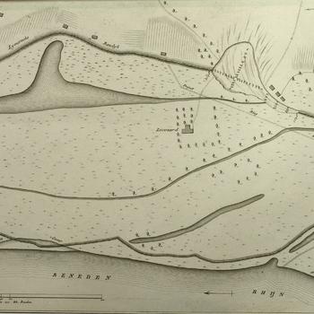 Kaart Beneden-Rijn met Loowaard en de dijkdoorbraak bij Loo 1809. Peildiepten en topografische aanduidingen. Gravure.