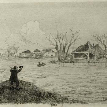 Gezicht op de dijkdoorbraak te Poederoyen, 10 maart 1855. Ets, M. ten Kate.