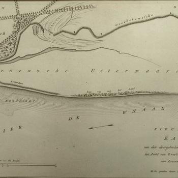 Kaart rivier de Waal met Loenense uiterwaarden en dijkdoorbraak bij Loenen 1809. Peildiepten en topografische aanduidingen. Gravure.
