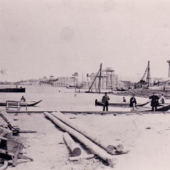 Bouw eerste spoorbrug over de waal bij Zaltbommel rond 1863.