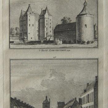Tweedelige prent. 1 Gezicht op Slot Loevestein vanaf grachtzijde; 2 Gezicht op de voorburcht. Gravure, C. Pronk, 1750-1800. Watermerk.