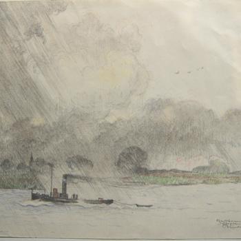 gezicht op de rivier de Waal nabij  Zaltbommel met uiterwaarden, sleepboot, spoorbrug en wolkenpartij. Tekening, vervaardigd door Johan Briedé, 1935.