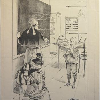 Cartoon  Het kamerlid T.P. Mackay als nummer één op de voordracht voor de Rekenkamer 6-12-1896