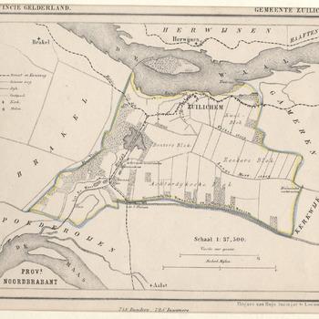 kaart der gemeente Zuilichem en omgeving met topografische aanduidingen. Litho, Hugo Suringar, 1867.
