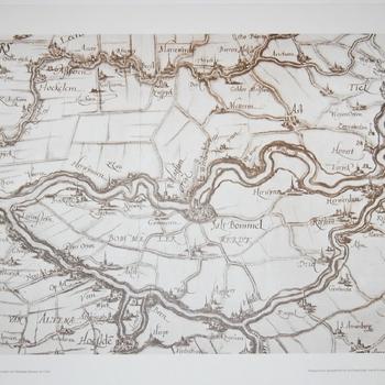 Topografische kaart van de Bommelerwaard, detail uit de kaart van Sgroten 1558. Drukkerij de Steigerpoort, 1975.