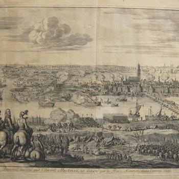 Belegering door Spaanse troepen van  Zaltbommel in 1599. Prins Maurits rukt aan de overkant op met zijn Staatse troepen. Gravure.