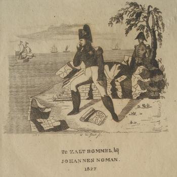 Napoleon op een eiland uitkijkend over de zee. Gravure, W.de Gier, 1827. Drukker J.Noman.