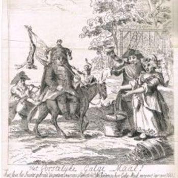 Spotprent, op Willem V genaamd het Vorstelijk Galgemaal. Willem V rijdt op een ezel. Opschriften.  Kopergravure.